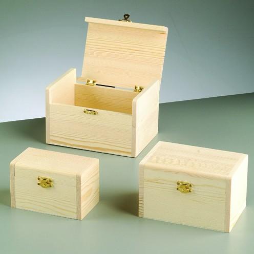 Holztruhen-Set, 3-teilig, 17 x 12 x 10,7 cm