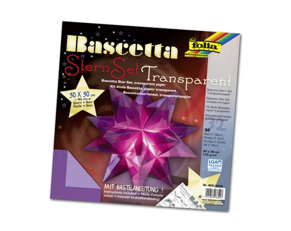 Faltblätter Bascetta-Stern, 30 x 30 cm, Transparentpapier violett