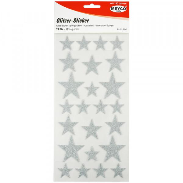 Moosgummi-Sticker Sterne, glitter-silber, 24 Stück