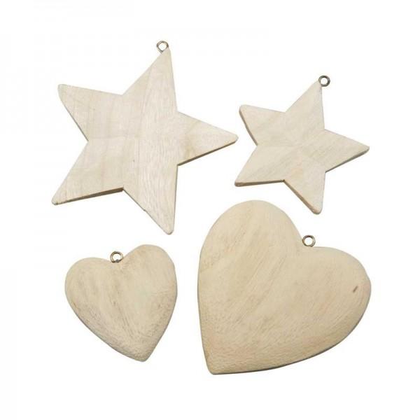 Holz-Herzen und Sterne, 4 Stück sort.