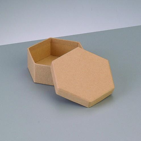 Box Sechseck, aus Pappmaché, 8,5 x 8,5 x 3,1 cm