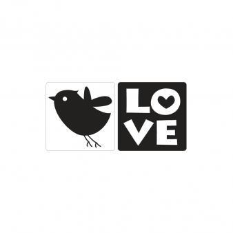 Einlege-Label, 25x30 mm, Love, Vogel