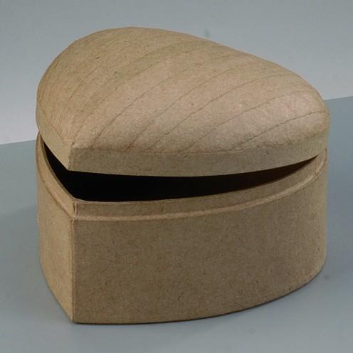 Box Schatztruhe Herz, bombiert, aus Pappmaché, 12,5 x 12,5 x 8
