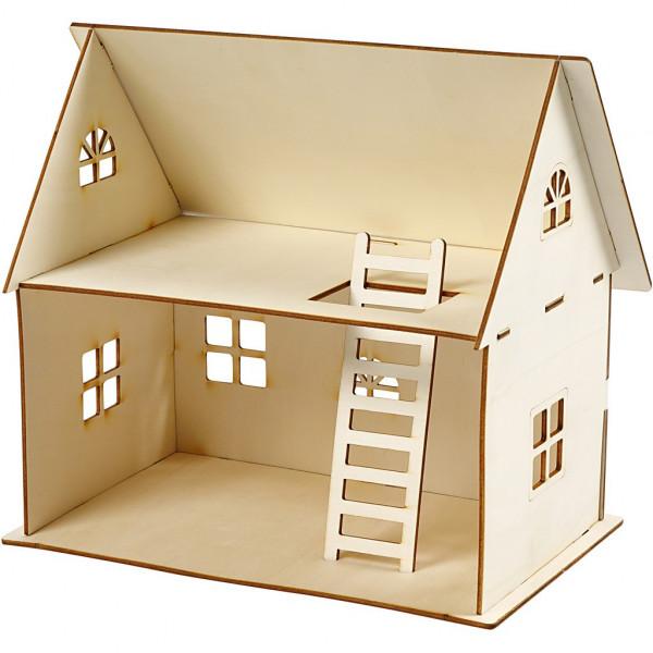 Puppenhaus zum Zusammenbauen, H 25 cm, Größe 18x27 cm