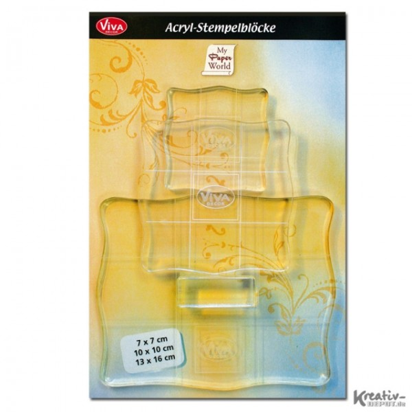 Viva Decor Acryl-Stempelblock, 3 Stück, verschiedene Größen