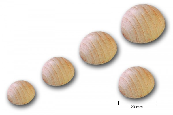 Rohholz-Halbkugel, ungebohrt, 15 Stück, Ø 20 mm
