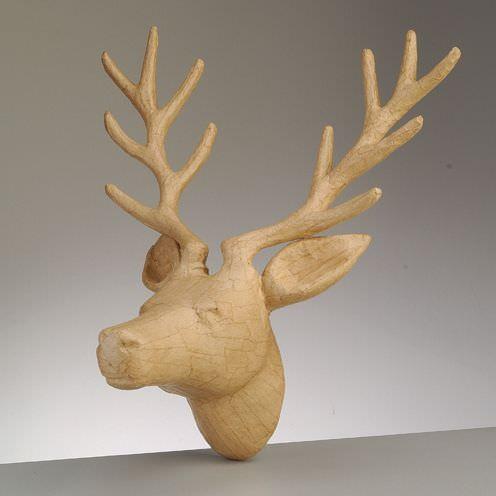 Hirsch Kopf, aus Pappmachè, 39 x 31 x 25 cm