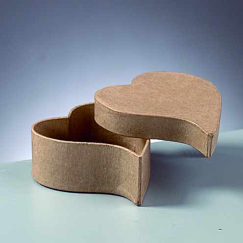 Box mini Herz, geschwungen, aus Pappmaché, 9 x 7,5 x 4 cm