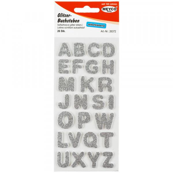 ABC Sticker, Glitter-silber, 2mm stark, 2cm hoch
