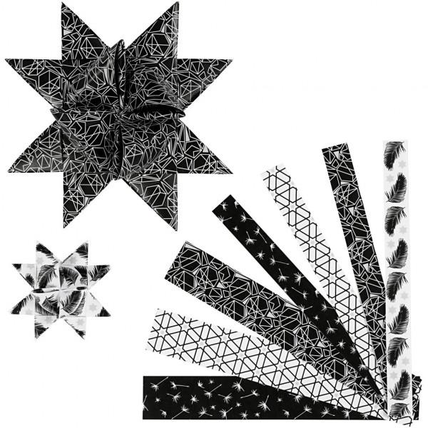 Fröbelstern-Streifen silber-schwarz, 15mm + 25mm