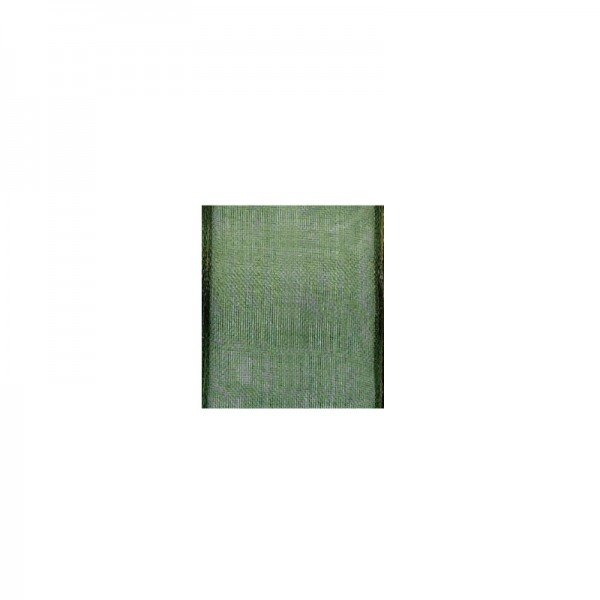 Chiffonband mit Drahtkante, 15mm breit, 5m lang - moosgrün