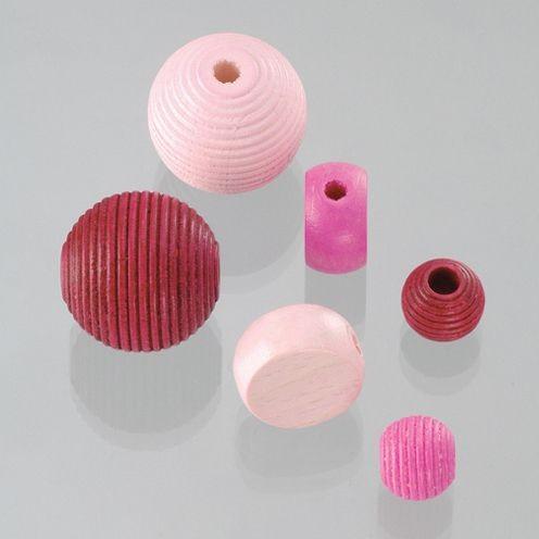 Holzperlen Formen-Mix pinkmix, ca. 6-20 mm - 25 Stück