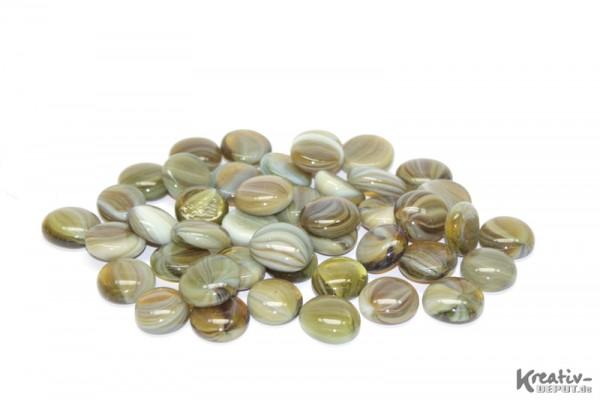 Glas-Nuggets, 200 g, Ø ca. 2 cm, strukturiert, Mix grün