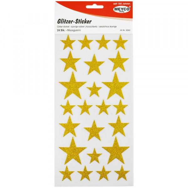 Moosgummi-Sticker Sterne, glitter-gold, 24 Stück