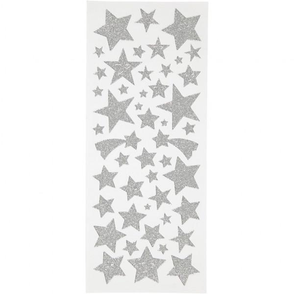 Glitzer-Sticker, Blatt 10x24 cm, ca. 110 Stück, silberne Sterne