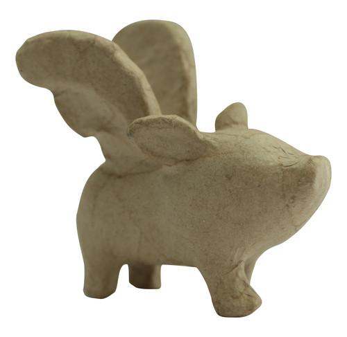decopatch Tierfigur fliegendes Schwein aus Pappmachè, 10 x 6,5 x 10,5cm