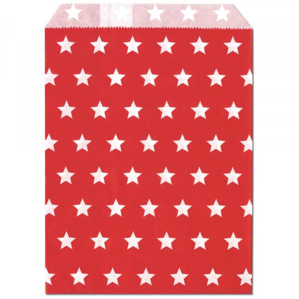 Papier-Geschenktüte, rot, Sterne, 13x16,5cm, 25 Stück