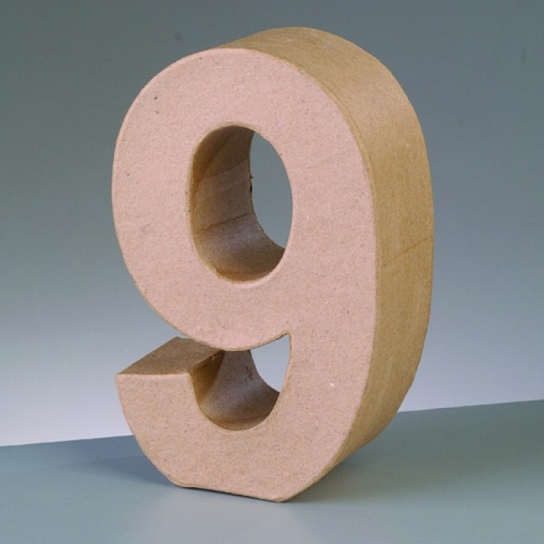Zahl 9, 17,5 x 5,5 cm, aus Pappmachè