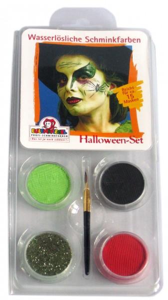 Eulenspiegel Schminkfarbe Motiv-Set Halloween-Hexe, 3 Farben,