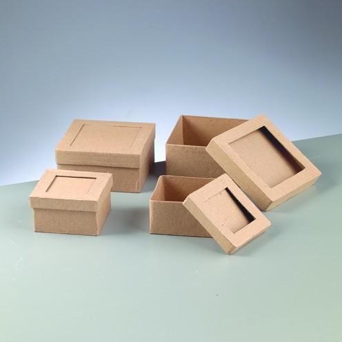 Schachtel-Set Quadrat, Passepartout, aus Pappmaché, 2-teilig