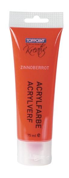 Toppoint Acrylfarbe, matt, 75 ml, Zinnoberrot