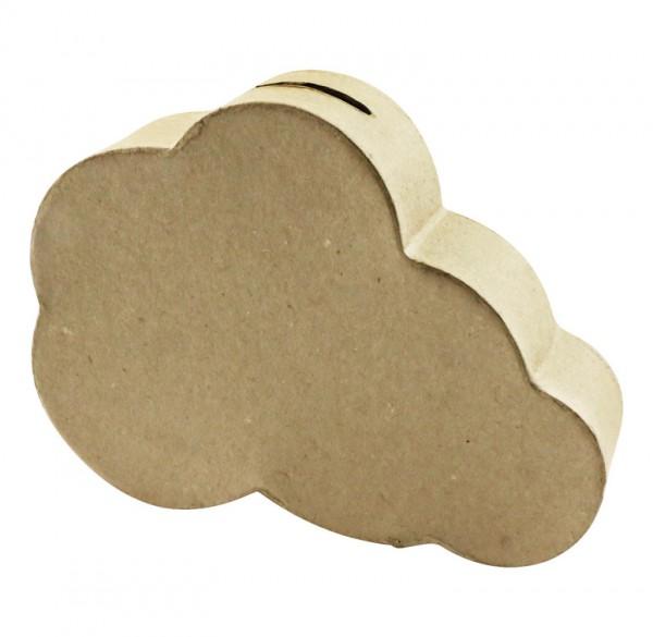 Spardose Wolke, aus Pappmachè - 3,5 x 16 x 12 cm