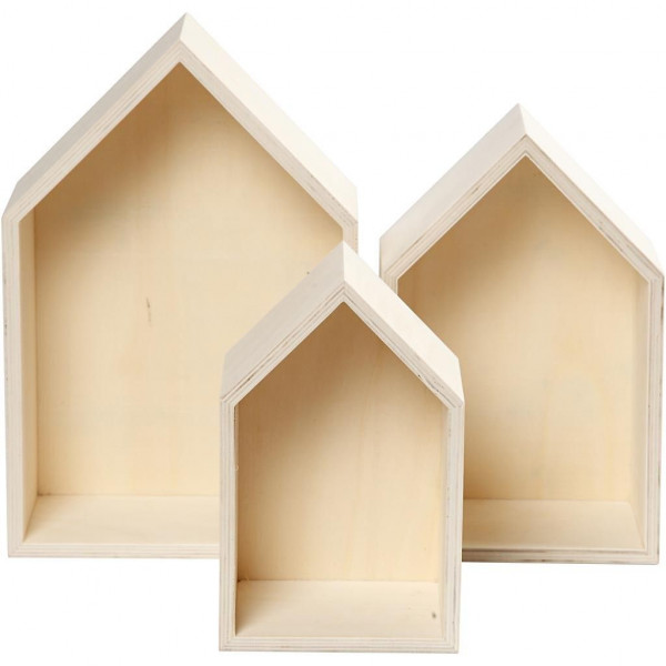 Holzkästen, Häuser, H 20,3+25,3+31 cm, B 13+16,2+20 cm, 3Stck.