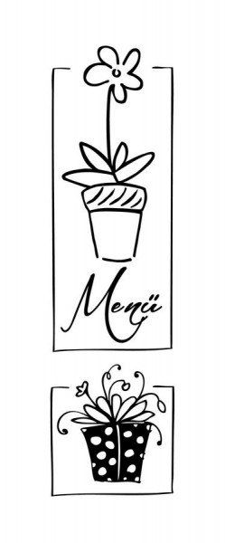 Stempel Menü Flowers 38x110