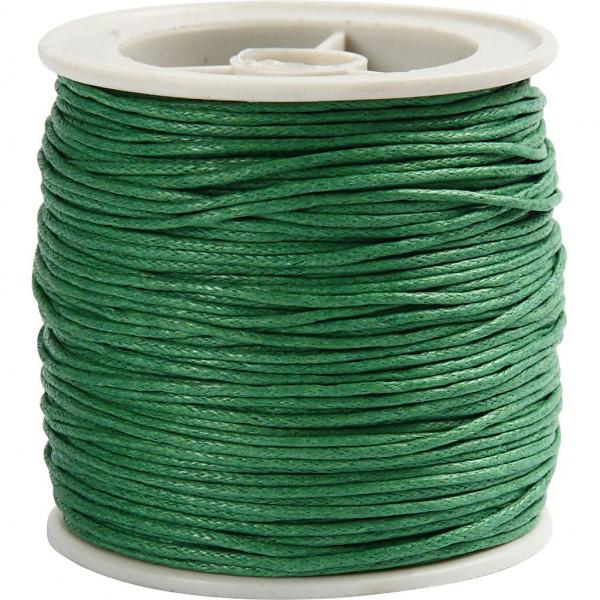 Baumwolllkordel, gewachst, Ø 1 mm, 40 m, grün