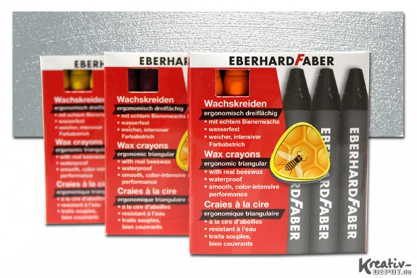 EBERHARD FABER Wachsmalkreiden, 12 Stück, silber