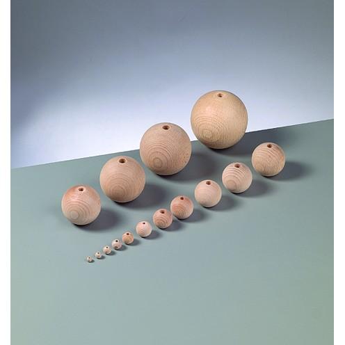 Holzkugel, roh, gebohrt, 10 Stück, Ø 15 mm