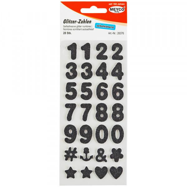 Zahlen Sticker, Glitter-schwarz, 2mm stark, 2cm hoch