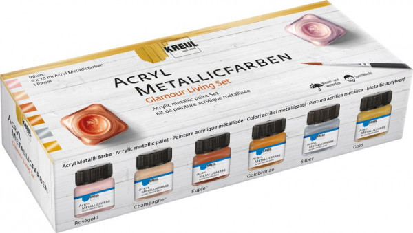 "KREUL Acryl Metallicfarben ""Glamour Living"", 6x20 ml Set"