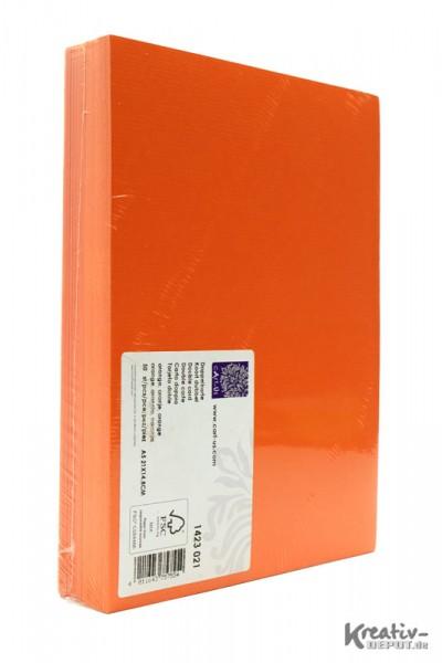 Doppelkarten, DIN A5, 21x14,8cm, 50 Stück, orange