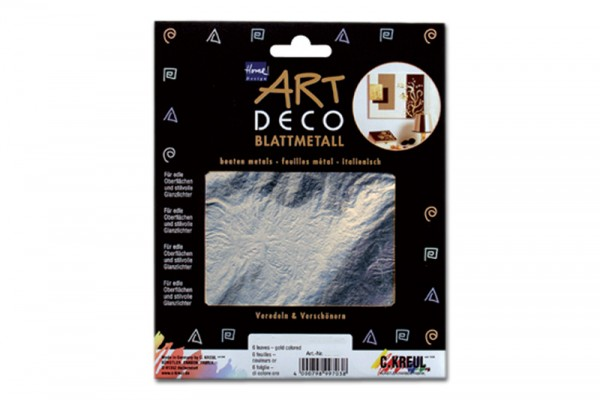 ART DECO Blattmetall, 6 Blatt, 14x14 cm, Silberfarben