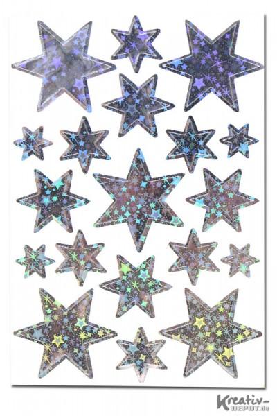Sticker Sterne, verschiedene Größen, silber-holographie