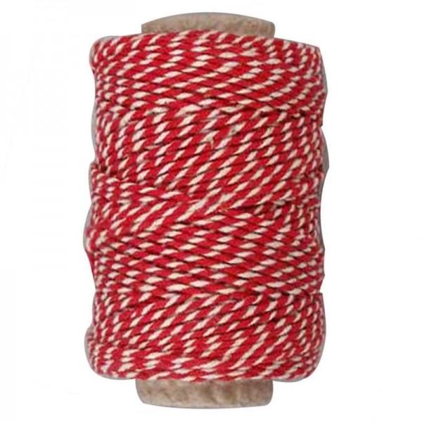 Baumwollschnur, rot/weiß, 50 m