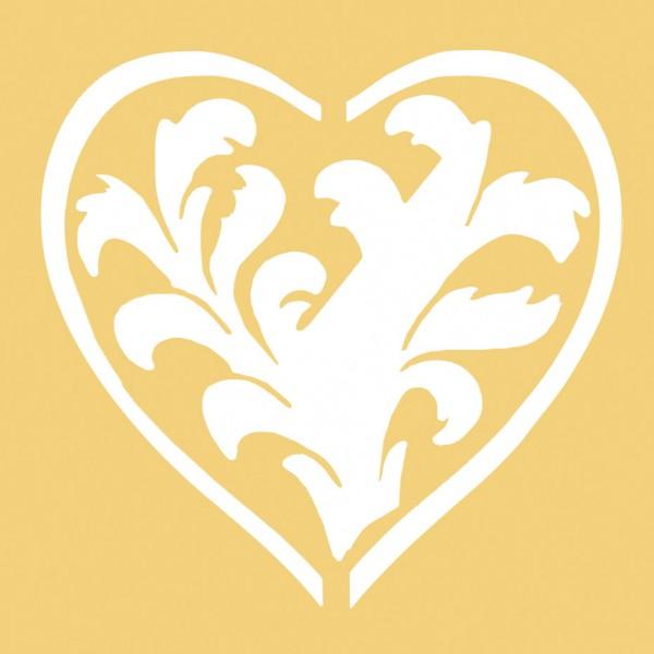 Embossing-Schablone, 65 x 65 mm, Herz mit Arkantusblüten