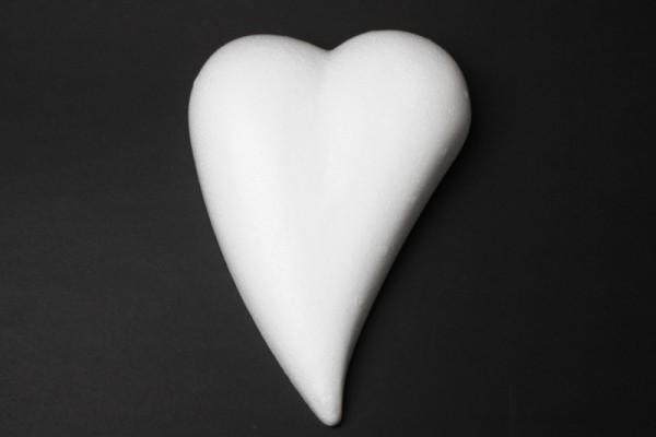 Styropor-Herz, weiß, Tropfenform, flach, 30 cm