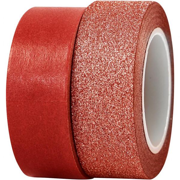 Washi-Tape, Vivi Gade Design, 15 mm, 10 m + 7 m, Rot/Rot-Glitter