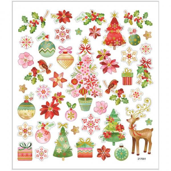 Sticker, Blatt 15x16,5 cm, 43 Stück, Romantische Weihnacht