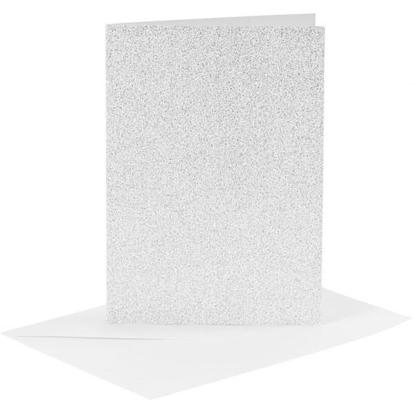 Karten und Kuverts, je 4 Stück, 10,5 x 15 cm, silber-glitter