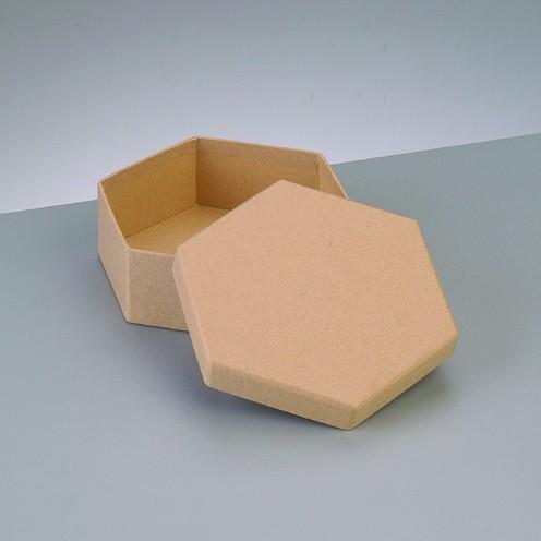 Box Sechseck, aus Pappmaché, 12,5 x 12,5 x 7 cm