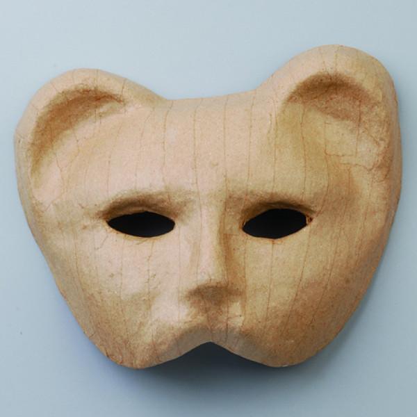 Maske Halbmaske Katze, aus Pappmaché, 17 x 20,5 cm
