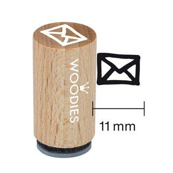 Woodies Mini Holzstempel, Ø 15 mm, Briefumschlag