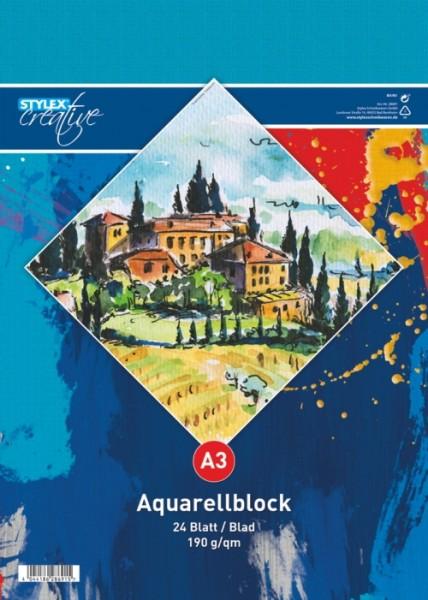 Aquarellblock, DIN A3, 190g, 24 Blatt