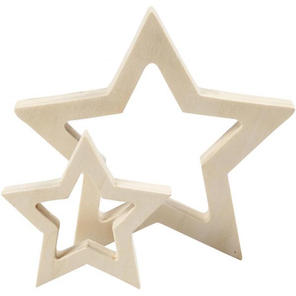 Sterne, aus Holz, 2 Stück