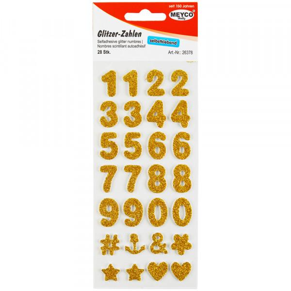 Zahlen Sticker, Glitter-gold, 2mm stark, 2cm hoch