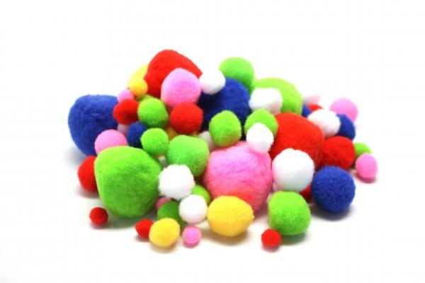 Pompons-Mix, Ø 1 - 4,5 cm, 100 Stück, farbig sortiert