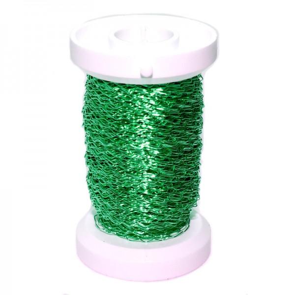 Bouillondraht, Effektdraht, grün, 0,3 mm Ø - 45 m